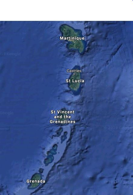 Map of the Windward Islands. Airports are on Martinique, St. Lucia, St. Vincent and Grenada