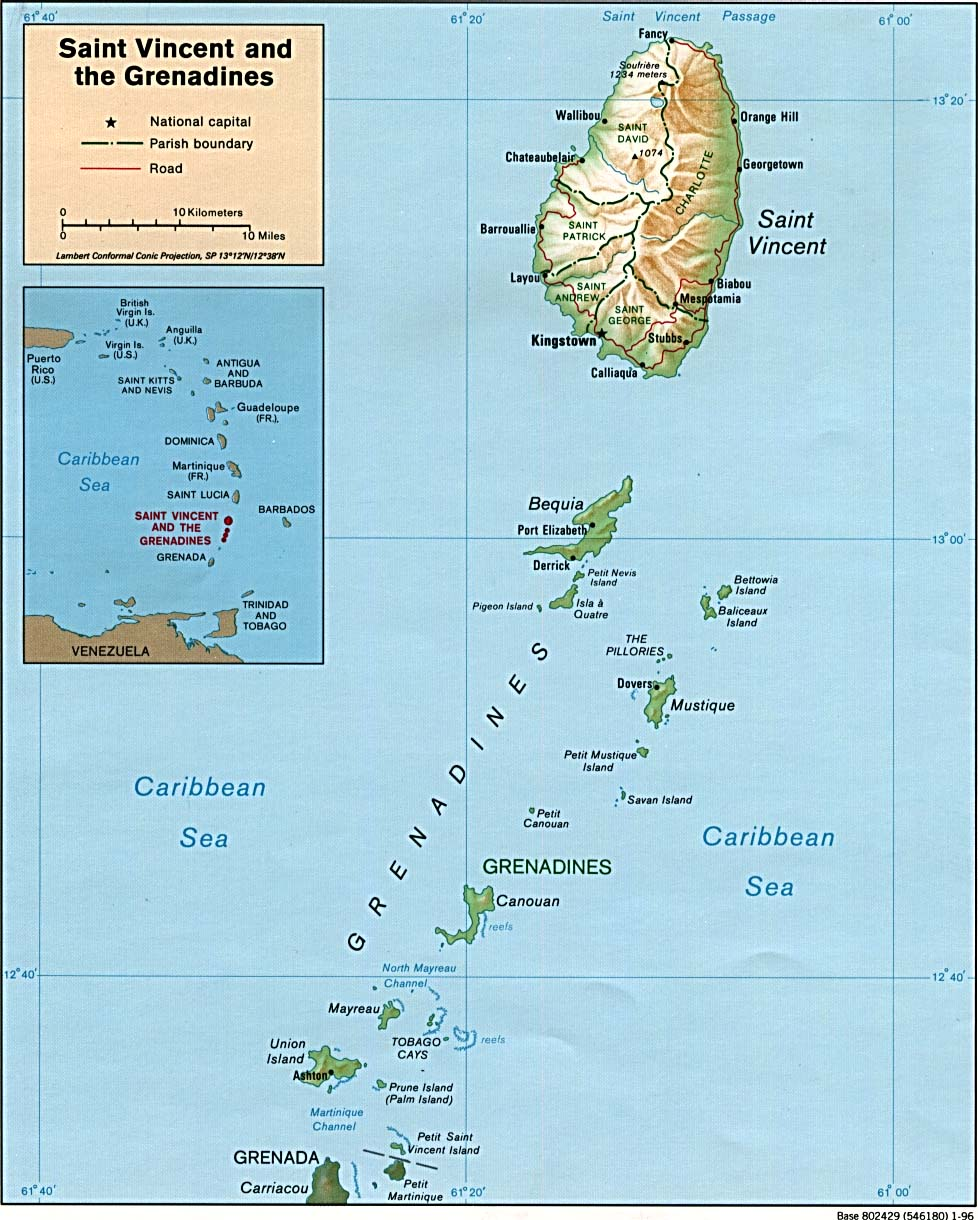 Maps of Saint Vincent and the Grenadines and the Eastern Caribbean Map Of Eastern Caribbean on
