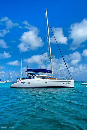 Catamaran My Love at anchor